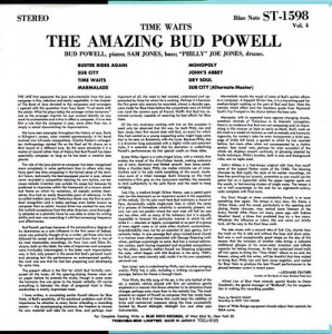 Bud Powell - The Time Waits The Amazing Bud Powell, Volume 4 (Blue Note BLP 1598) cover