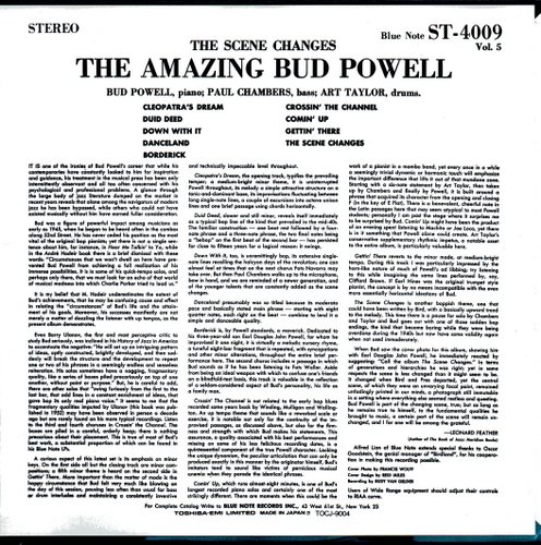 The Amazing Bud Powell, Vol. 5 - THE SCENE CHANGES - BUD POWELL Blue Note BST-84009 back