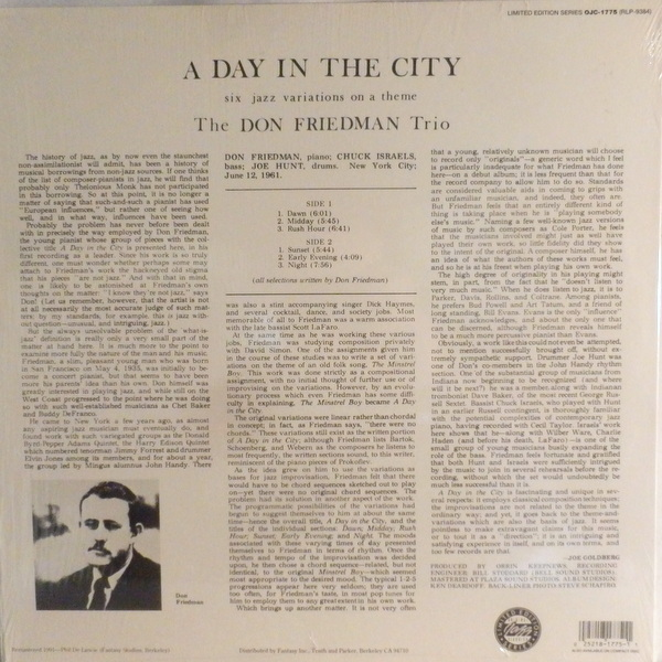 Don Friedman - A Day In The City (1961) back